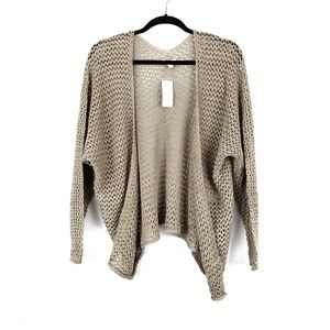 AEO Taupe Loose Open Knit Open Front Cardigan OS